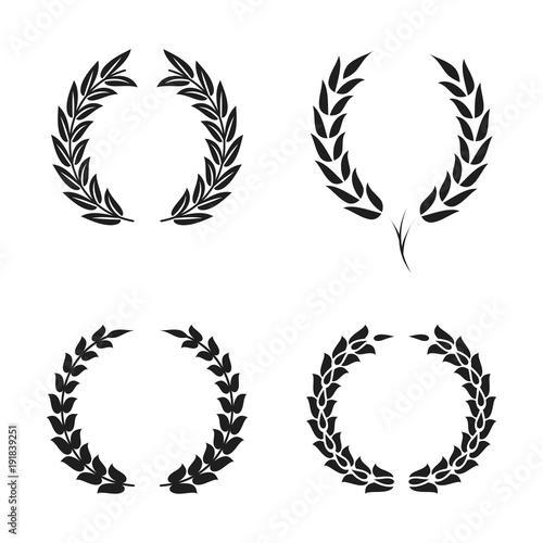 Fényképezés Laurel wreath foliate symbols set