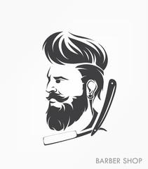 Fototapeta vintage barber shop emblem label badge with beard
