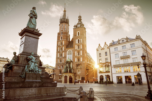 Fototapeta Main market square in old town of Krakow, Poland obraz