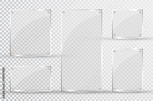 Obraz Glass plates are installed. Vector glass banners on a transparent background. Glass. Glass paintings. Color frames - fototapety do salonu