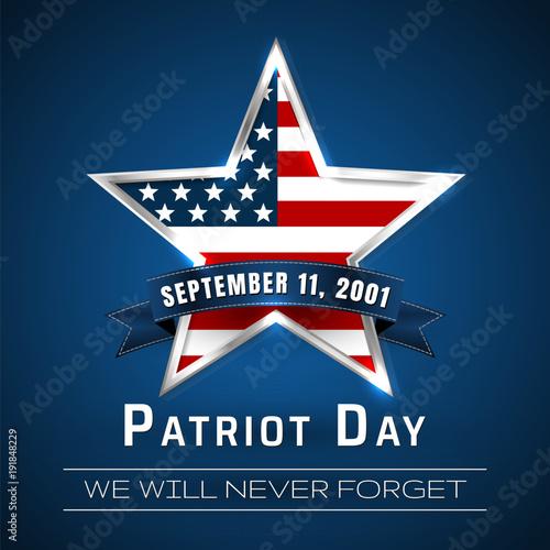 Fotografia  Patriot Day 9.11 digital sign with star. vector illustration