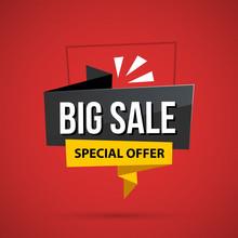 Big Sale Banner Template In Business Origami Style On Deep Red Background