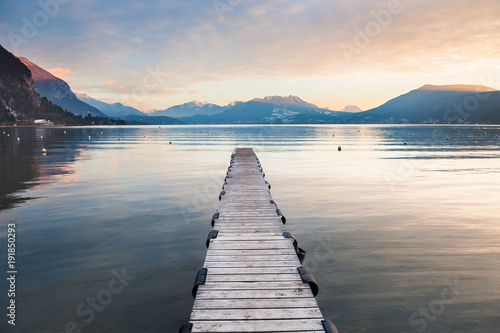 Lac / Etang Annecy lake in French Alps at sunset