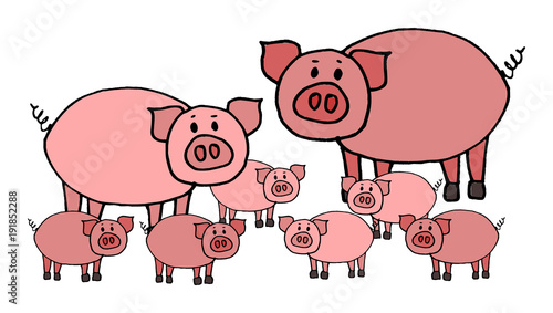 Valokuvatapetti Cute kid easy vector illustration of pig family including mother, father and kids, isolated on white background