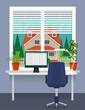 Home workplace at the window with desk, computer, desk lamp. Room plants in pots on the windowsill. Blinds on the window. Beautiful private house outside. Vector illustration in flat style.