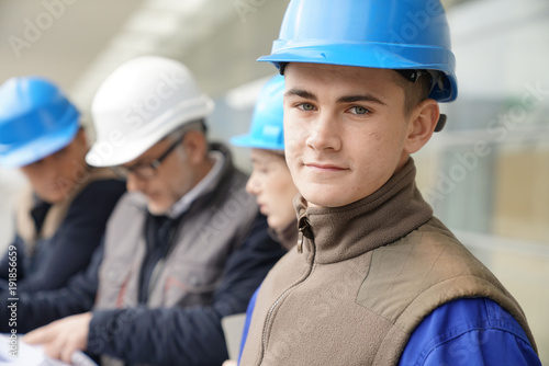 Portrait of young man in construction industry training Canvas Print