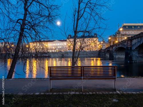 Photo  Night view of the Old Town of Prague over the Vltava River, Czech Republic