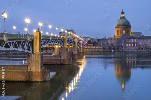 View of Garonne river and hospital La Grave in Toulouse city