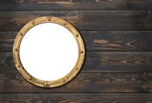 Ship Or Boat Porthole Frame On Wooden Wall 3d Illustration