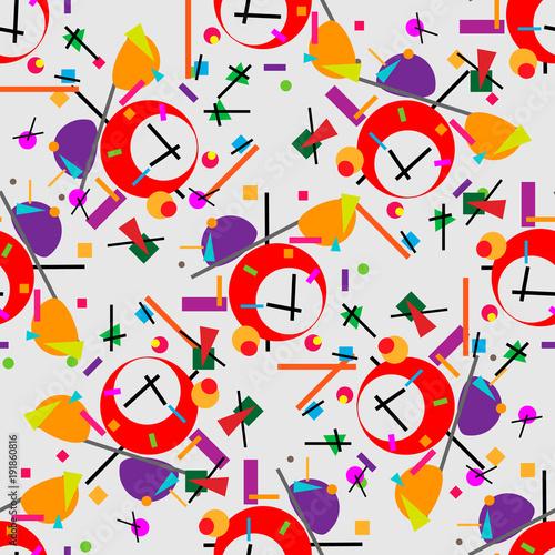 Valokuva  Geometric illustration of alarm clock cubism supermatism