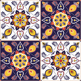 Italian tile pattern vector with baroque floral ornament. Portuguese azulejo, mexican talavera, spanish majolica, moroccan motifs. Tiled texture background for wallpaper or flooring ceramic. - 191861069