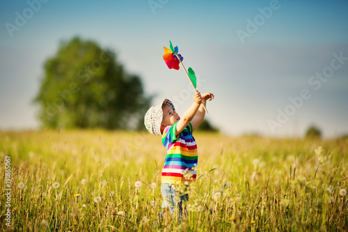 Fotografie, Obraz  Baby boy standing in grass on the fieald with dandelions