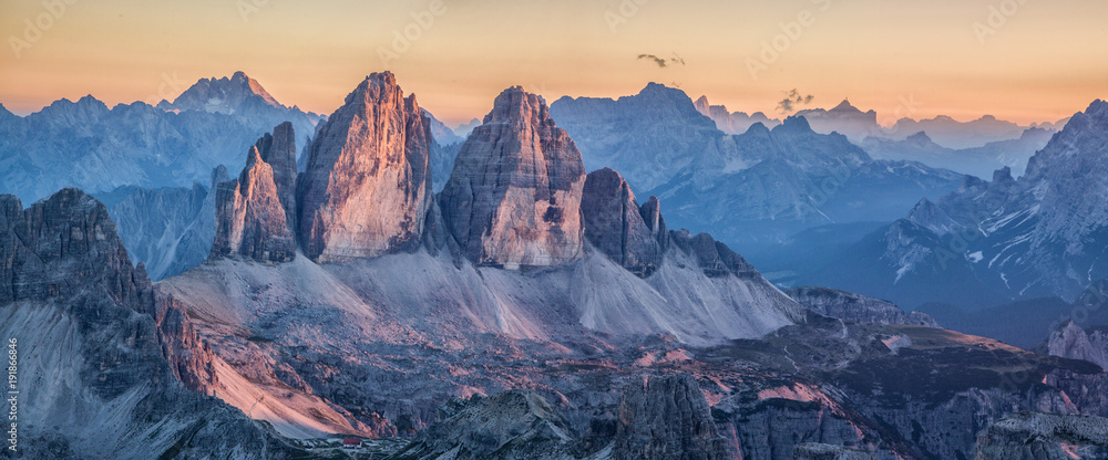 Fototapety, obrazy: Tre Cime di Lavaredo mountains in the Dolomites at sunset, South Tyrol, Italy