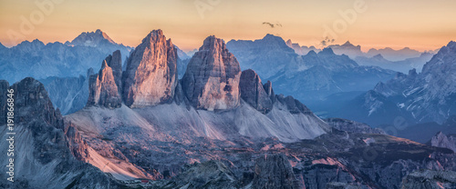 Foto auf Leinwand Gebirge Tre Cime di Lavaredo mountains in the Dolomites at sunset, South Tyrol, Italy