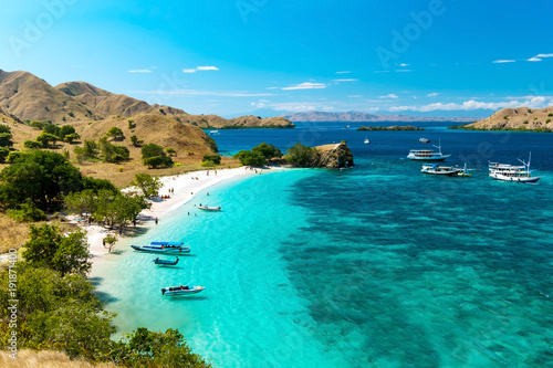 Photo Stands Tropical beach Panoramic view of Pink Beach, Komodo Nation Park, Flores Island, Indonedia.