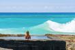Enjoying an ocean pool at Snapper Rocks on the Gold Coast, Queensland, Australia. Ocean water swimming pool.