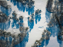 Drone View Of A Golf Course Covered By Snow