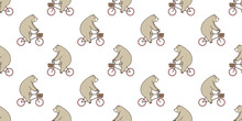 Bear Seamless Pattern Polar Bear Riding Bicycle Isolated Wallpaper Background Brown