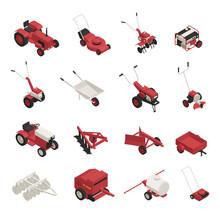 Farm Garden Machinery Icons Set