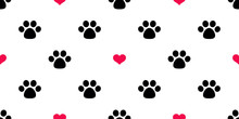 Dog Paw Seamless Pattern Vecto...