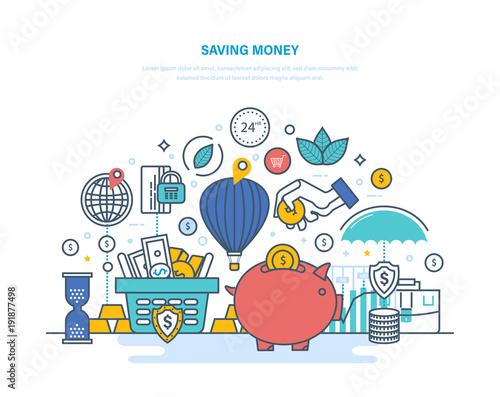 Fototapeta Saving money concept. Accumulation, financial security, investments, savings, bank deposits. obraz