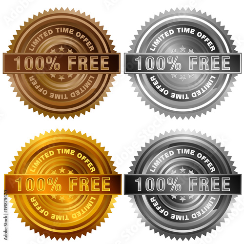 One Hundred Percent Free Limited Time Offer Bronze Silver Gold Platinum Stamp Set