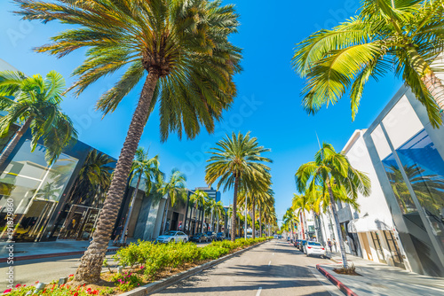 Tuinposter Centraal-Amerika Landen Palm trees in Rodeo Drive