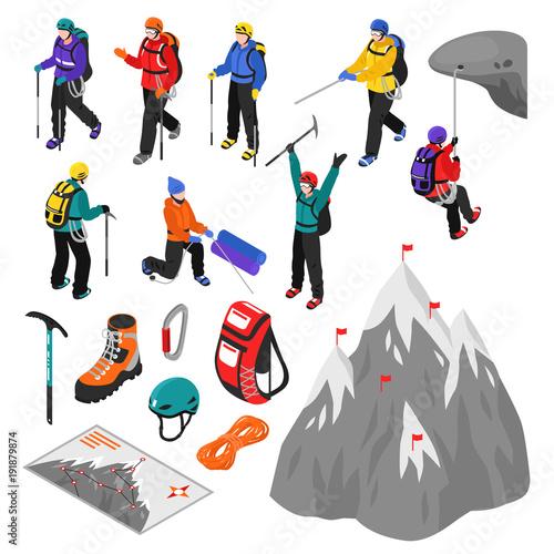 Fotografie, Obraz  Mountaineering Isometric Set