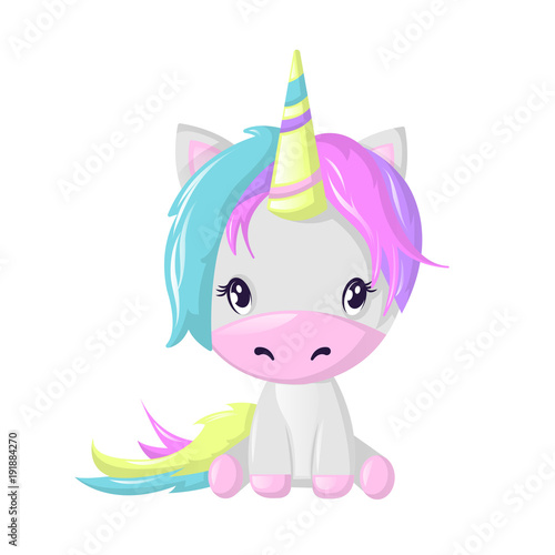 Poster Pony Funny beautiful fictional cartoon character, colorful unicorn. Fantasy fairy animal.