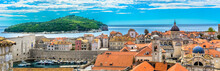 Panorama Cityscape Dubrovnik Coast. / Panorama Of Amazing Historical Town Dubrovnik, Famous Tourist Resort In Southern Europe, Croatian Landmarks View.