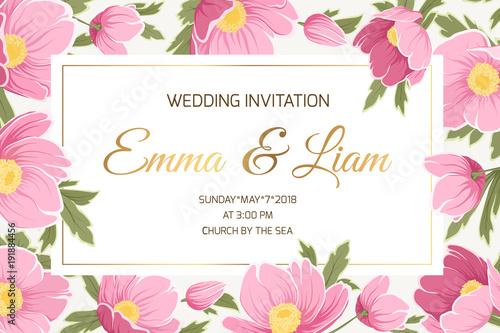 Spring Wedding Event Invitation Card Template Sakura Anemone Poppy