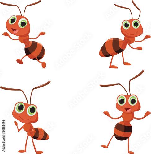 illustration of happy ant cartoon Canvas Print