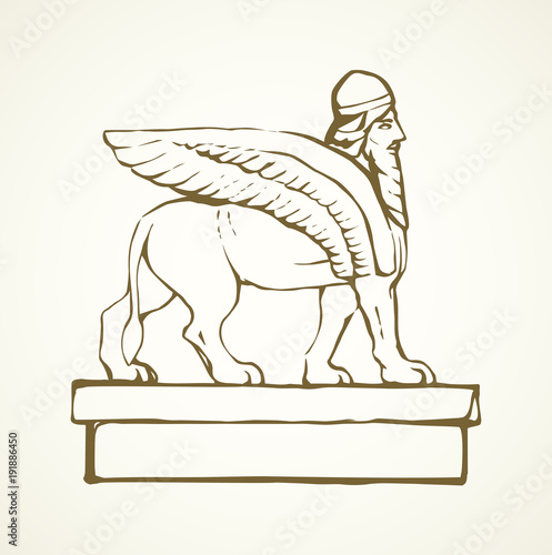 Photo Ancient griffin. Vector drawing
