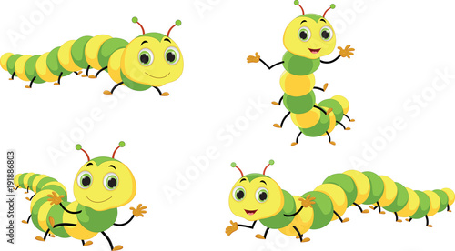 Fotomural  Cute caterpillar cartoon set