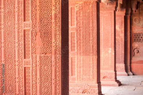 Poster Monument Interior elements of the Red Fort in Agra, India