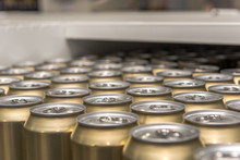 View Of Beer Cans Standing In ...