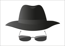 Spy Hat And Sunglasses On White (icon)