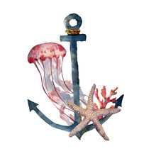 Watercolor Anchor With Jellyfi...