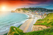 canvas print picture - Beautiful sunrise with colorful clouds, Etretat, Normandy, France, Europe