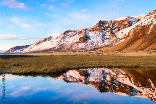 Spoed Foto op Canvas Blauwe hemel amazing countryside landscape of iceland