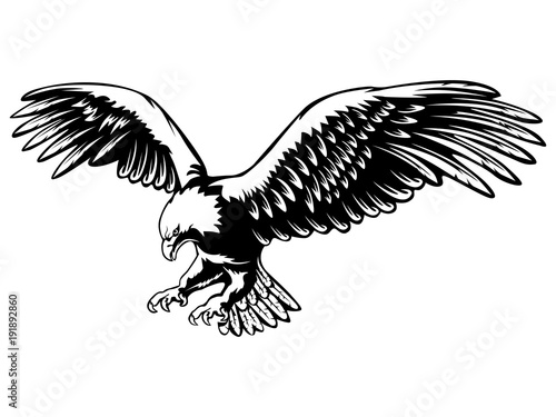 Eagle emblem black on white Poster Mural XXL