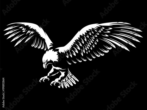 Eagle emblem white on black Fototapet