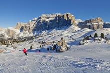 Italian Dolomites In Winter From Val Di Fassa Ski Area, Trentino-Alto-Adige Region, Italy