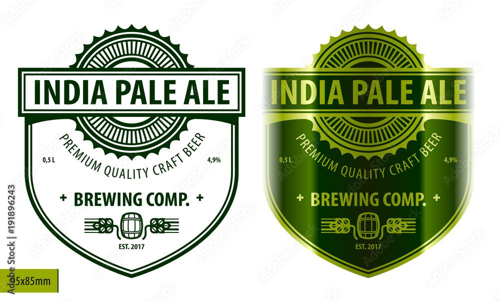Fototapeta Beer label template in modern style