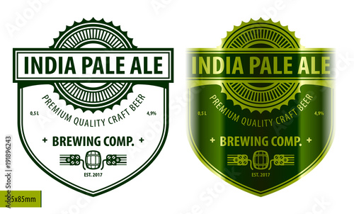 Beer label template in modern style Fototapeta