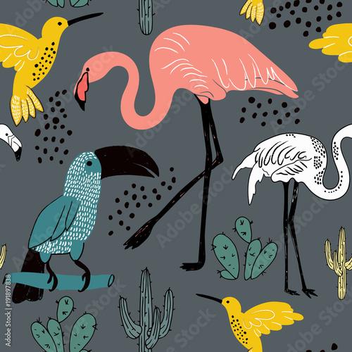 abstrakcjonistyczna-reka-malujacy-bezszwowy-zwierzecy-tlo-wzor-ptakow