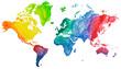 canvas print picture - Welt Atlas Aquarell Farben