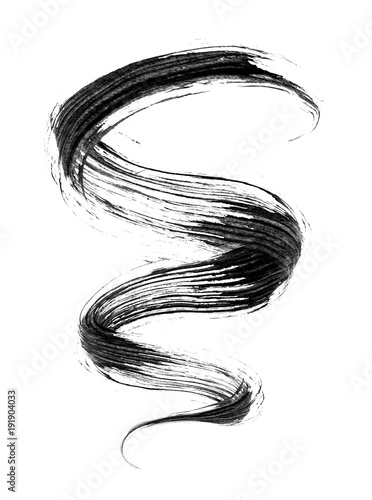 Fotografie, Obraz  Stroke of mascara in a twisted shape on white