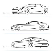Set Of Sports Car Silhouettes,...
