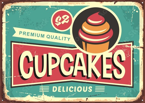Carta da parati Delicious cupcakes retro sign for candy shop